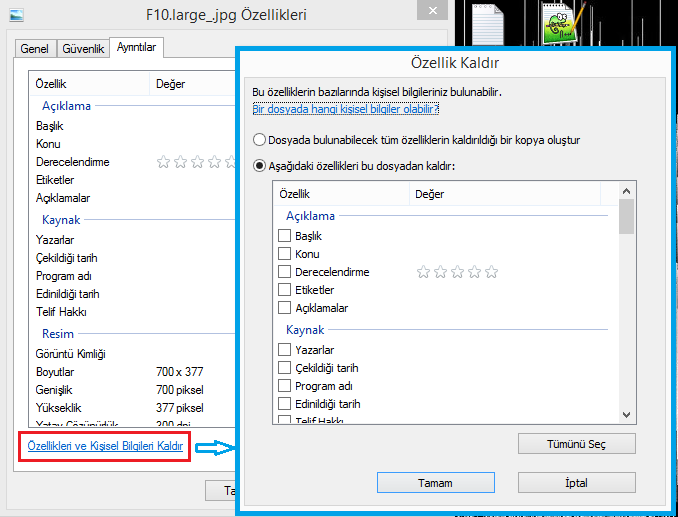 Windows EXIF Verilerini Görüntüleme ve Kaldırma -2