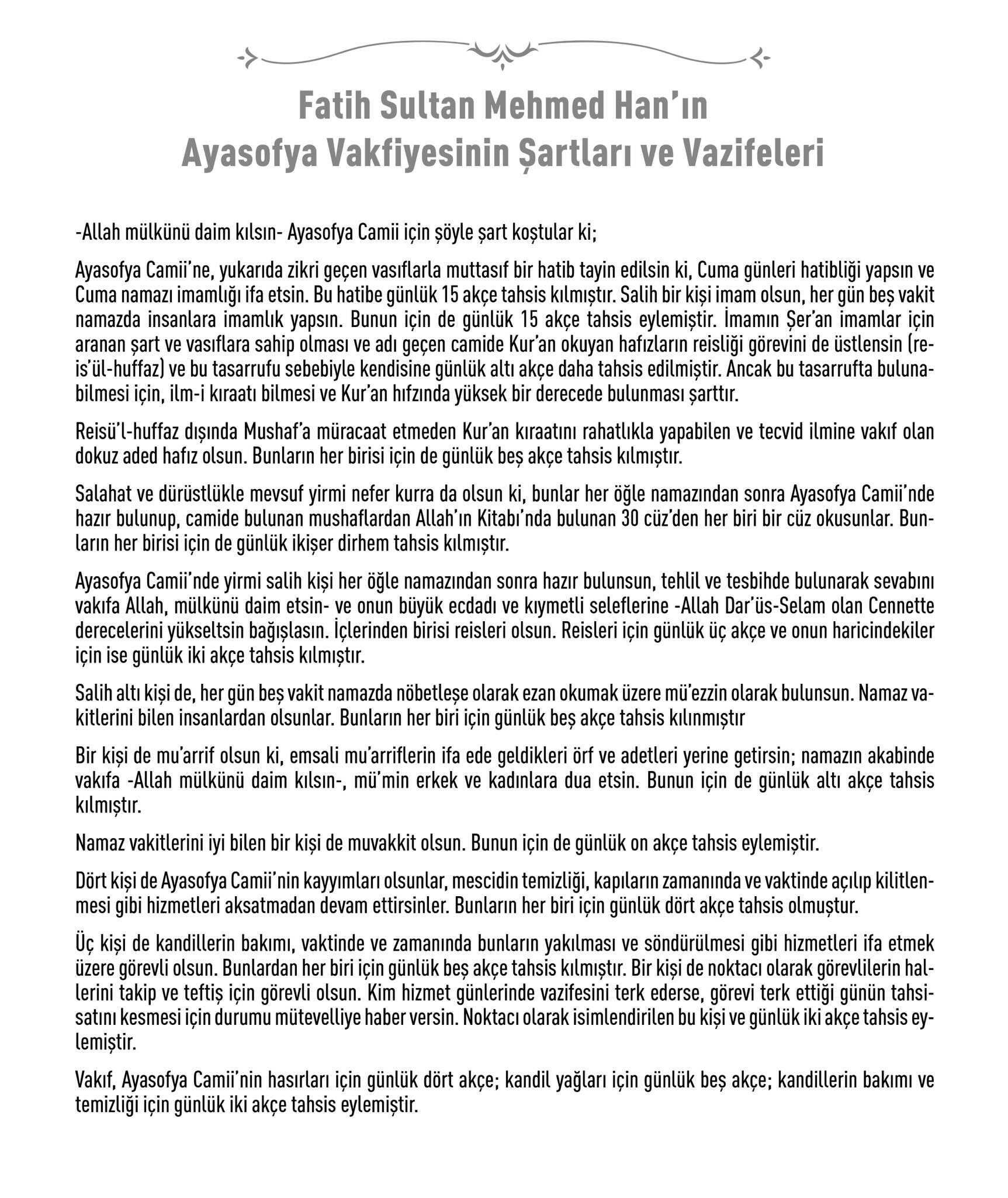 Fatih Sultan Mehmed Han'ın Ayasofya Vakfiyesinin Şartları ve Vazifeleri